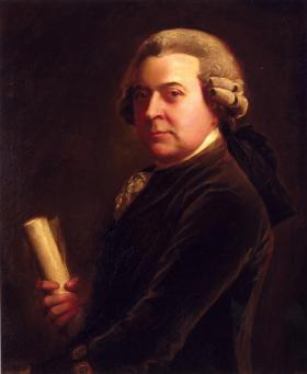 This portrait, from the time when Adams was working in Europe, hangs in his home in Quincy, Massachusetts.